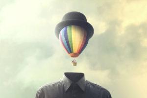 man with big balloon